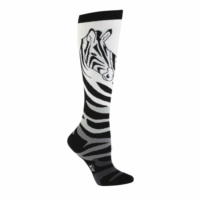 Knee High Socks Black & White 'Zebra' NWT Women's 9-11 SITM ZEBRAS