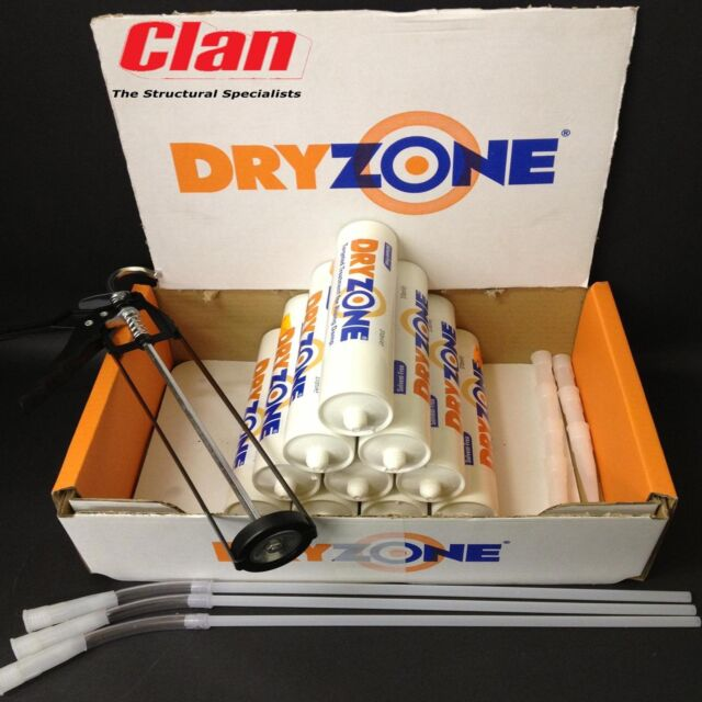 10 DRYZONE DAMP PROOFING CREAM 310ml, WITH CAULKIN GUN, GLOVES AND DUST MASK