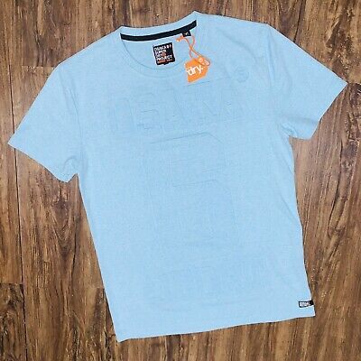 Brand New Light Blue Superdry Embossed Osaka 6 Sport T shirt Mens Medium