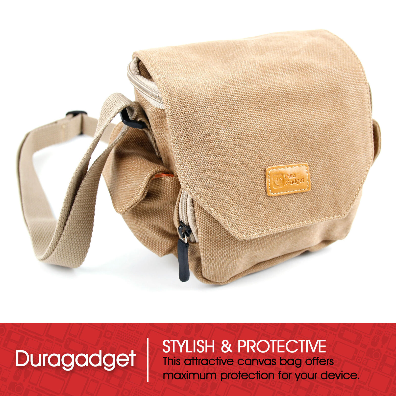 DURAGADGET Tan Brown Medium Sized Canvas Carry Bag for Penta