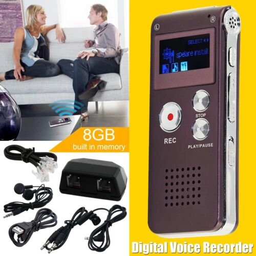 8GB Wiederaufladbare LCD Digital Sound Voice Recorder Diktiergerät MP3-Player DE