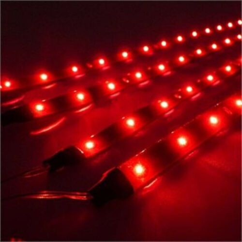 "4 - 12"" Red Marine Party Ski Boat Boating Yacht LED Waterproof Light Bulb Strips"