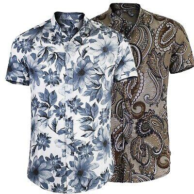 Camicia Fiori Uomo Manica Corta Cotone Leggero Jacquard Collo Coreana 2482IT