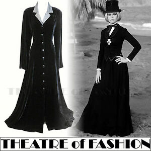 VINTAGE-LAURA-ASHLEY-VELVET-COAT-DRESS-SILK-VICTORIAN-RIDING-30s-NOIR-MISTRESS