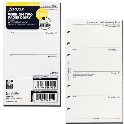 2021 Filofax Personal Size Refill 21-68419 Week On Two Pages 95mm X 171mm