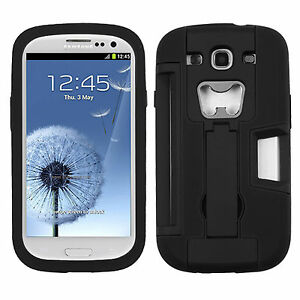 For Samsung Galaxy S III S3 KICKSTAND Case Bottle Opener Card Holder Black