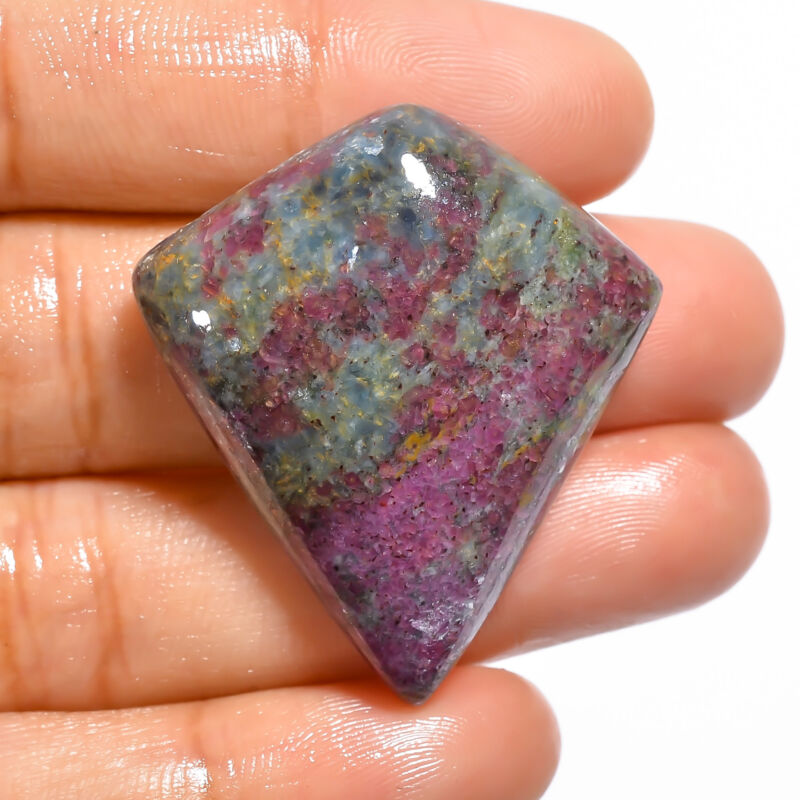 AAA+ Natural Ruby Kyanite Shield Shape Cabochon Loose Gemstone 74 Ct. 36X21X8 mm