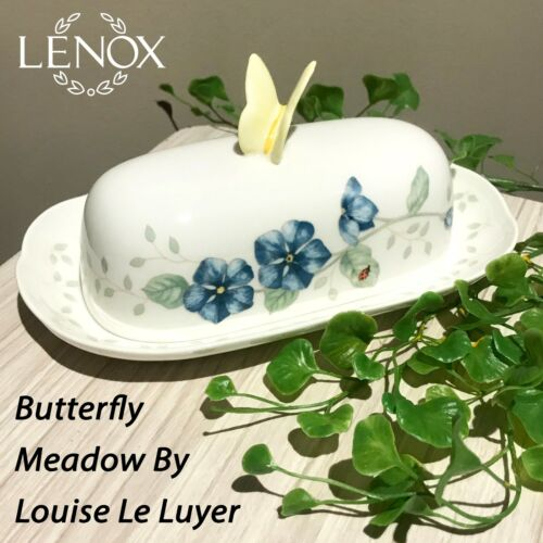 NEW LENOX Butterfly Meadow By Louise Le Luyer Oblong Covered Butter Dish