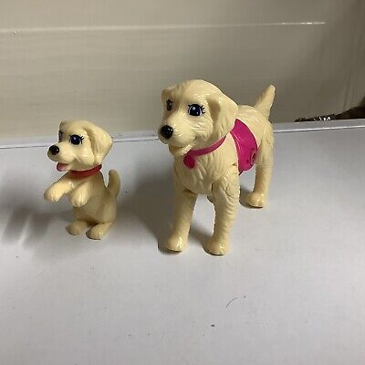 """Barbie Dog And Puppy Plastic Bundle Dog 5"""" Long Puppy 3"""" Tall"""
