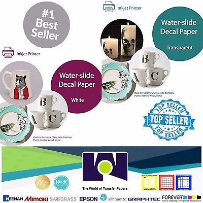 """INKJET Printable Waterslide Decal COMBO 5 Sh Each CLEAR & WHITE Paper, 8.5""""x11"""""""