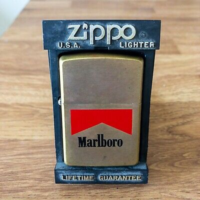 Marlboro Zippo Lighter Vintage 1980s Brass Rare