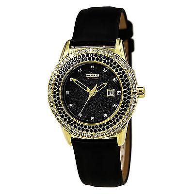 Citizen Eco-Drive Women's FE1112-06E Swarovski Crystals Black Satin Strap Watch