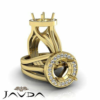Diamond Engagement Pre-Set Ring Round Semi Mount 0.4Ct F-G Color 14k Yellow - Semi Mounted Set Ring