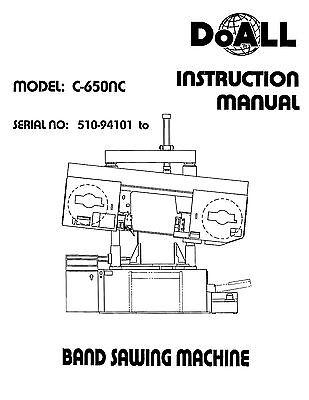DoALL Model C-4 Horizontal Band Saw Instruction /& Parts  Manual C4 0269