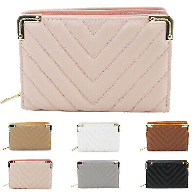 Ladies Women's Bifold Quilted Design All Over Wallet Purse UK