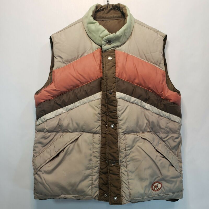 Vintage Camel Brand Reversible Goose Down Puffer Vest Brown Tan red teal