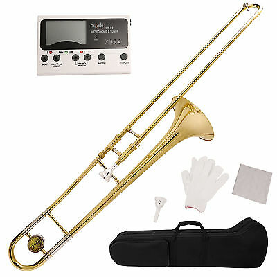 Gold School Band Student Bb Slide Trombone Professional w/Tuner, Case, Care Kit