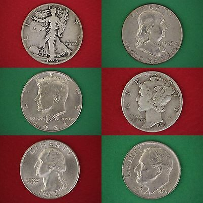 MAKE OFFER $1.00 Face Value 90% Silver Mixed Junk Coins 1 Half Dollar Included