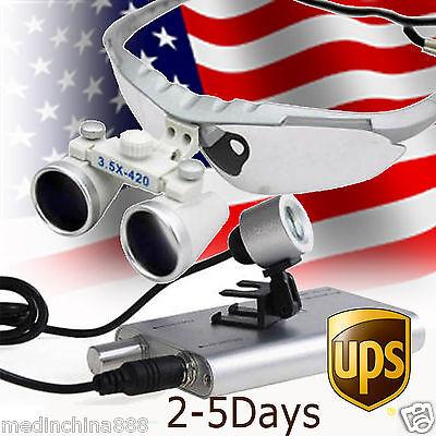 Dental Surgical Binocular Loupes Optical Glass Loupe 3.5x420mmled Headlight Usa