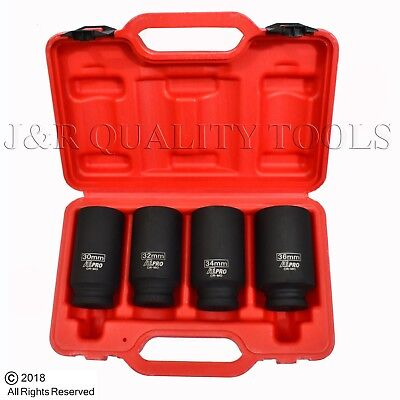 """4pc 12 Point 1/2"""" Drive Deep Spindle Axle Nut Socket Set MM 30mm 32mm 34mm 36mm"""