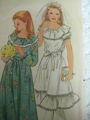 Vintage Butterick 3118 FIRST HOLY COMMUNION DRESS Sewing Pattern Girl Sz 10](Holy Communion Dress Patterns)