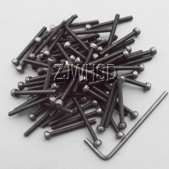 50pcs M2.5 x 25 Allen Hex Socket Cap Head Screw Ultra Hard Alloy Steel Bolt +Key