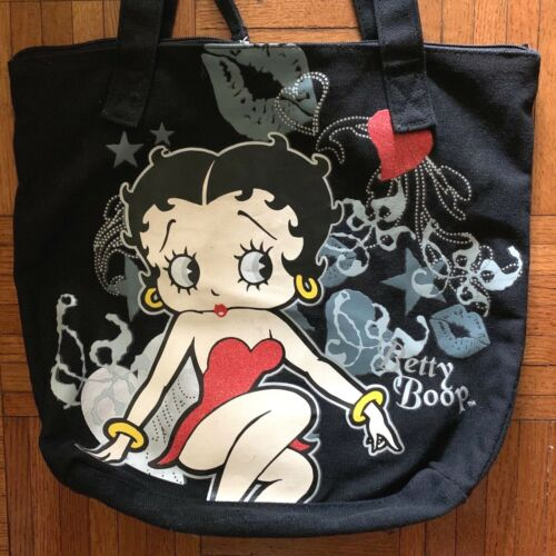 Betty Boop Tote Bag, black w/illustration, zip close, inner pocket, COLLECTIBLE!