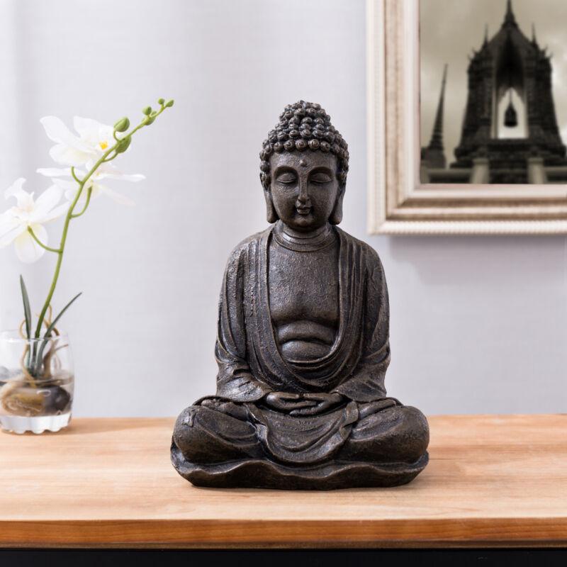 MyGift 10 inch Decorative Shakyamuni Resin Bronze Seated Buddha Statue Figurine