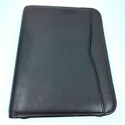 Day-timer Planner Brown Genuine Leather Zip 7 Ring Binder Portable 10.5 X 8