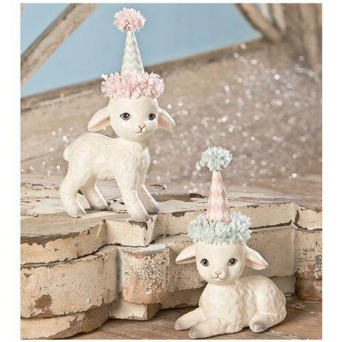 Set/2 Bethany Lowe Spring Party Hat Lamb Easter Retro Vntg Decor Figurine