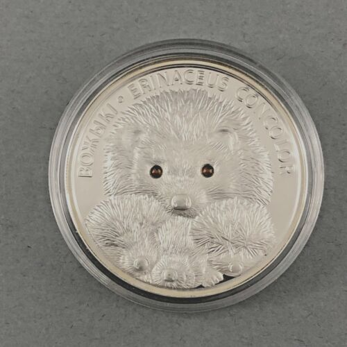 2011 BELARUS HEDGEHOG 20 RUBLES 1 OZ .999 SILVER COIN SWAROVSKI CRYSTAL EYES