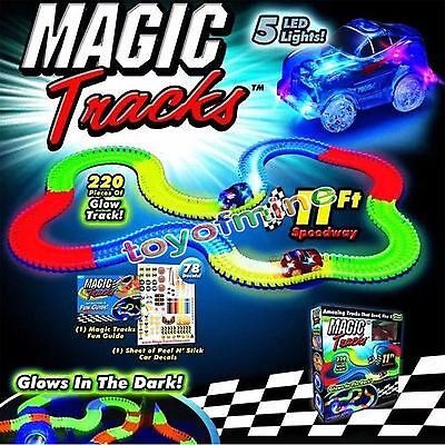 Magic Tracks Amazing Racetrack that Can Bend Flex Glow 11Ft Car As   on TV BI