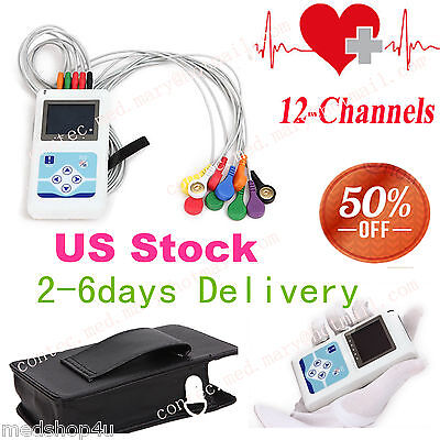 portable Dynamic holter 12-Channel ECG EKG machine 24Hr monitor+Sync PC Software