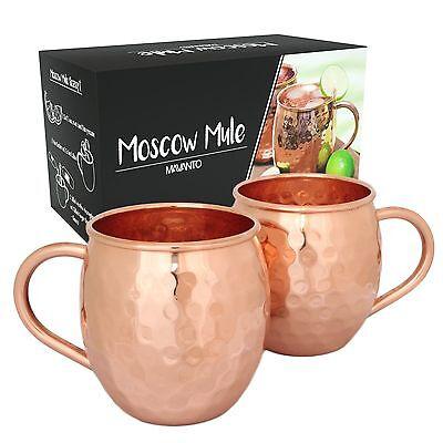 2x Moscow Mule Becher Tassen Kupferbecher HANDARBEIT 100% Kupfer Cocktailgläser