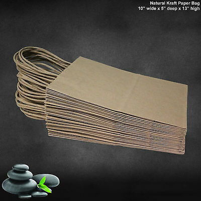 50 Pcs Retail Shopping Craft Gift Bags Brown Paper With Hand