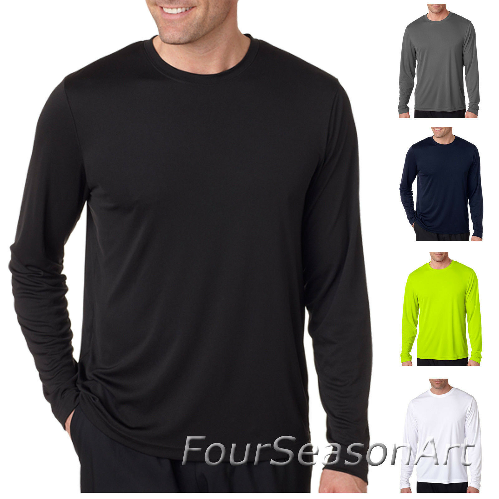 Hanes Mens Cool Dri Long Sleeve Performance 100% polyester S