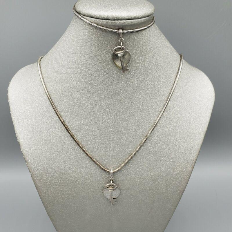 1950s Set FCC Sterling Silver Key Heart Charm Necklace & Bracelet 15.35g