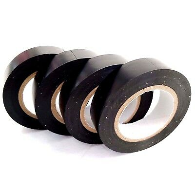 4 x Black Insulation Tape PVC Flame Retardant Electrical 15mm x 15M Insulating