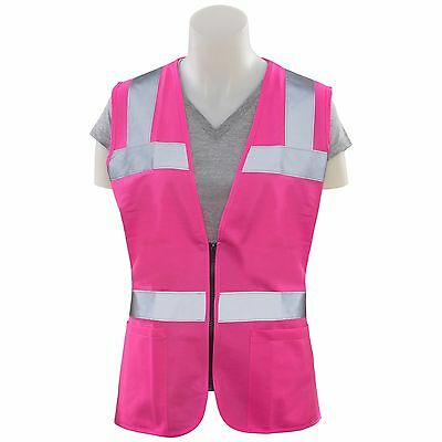 Erb Womens Reflective Safety Vest With Pockets Pink