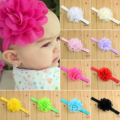 10pcs Kids Baby Girl Toddler Lace Flower Hair Band Headwear Headband Accessories