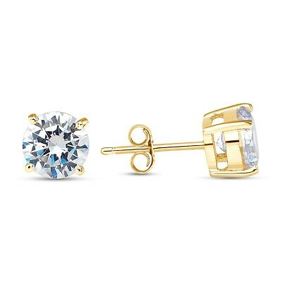 925 STERLING SILVER SOLITAIRE CZ PUSH BACK STUD EARRINGS 14k YELLOW GOLD PLATED