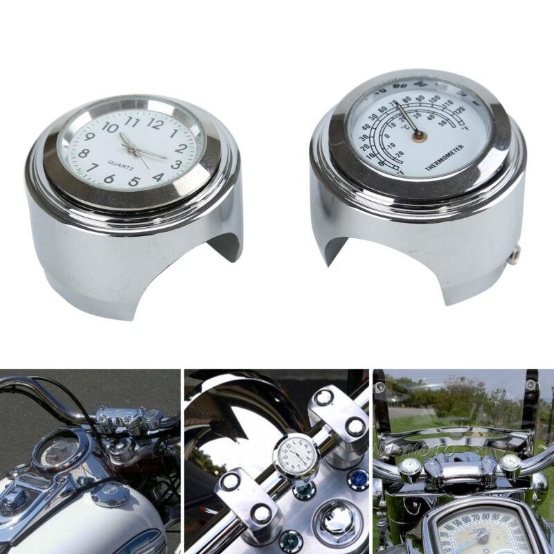 7/8 1'' Motorraduhr Uhr Uhren für Motorrad Motorräde Lenkeruhr wasserdicht Weiß