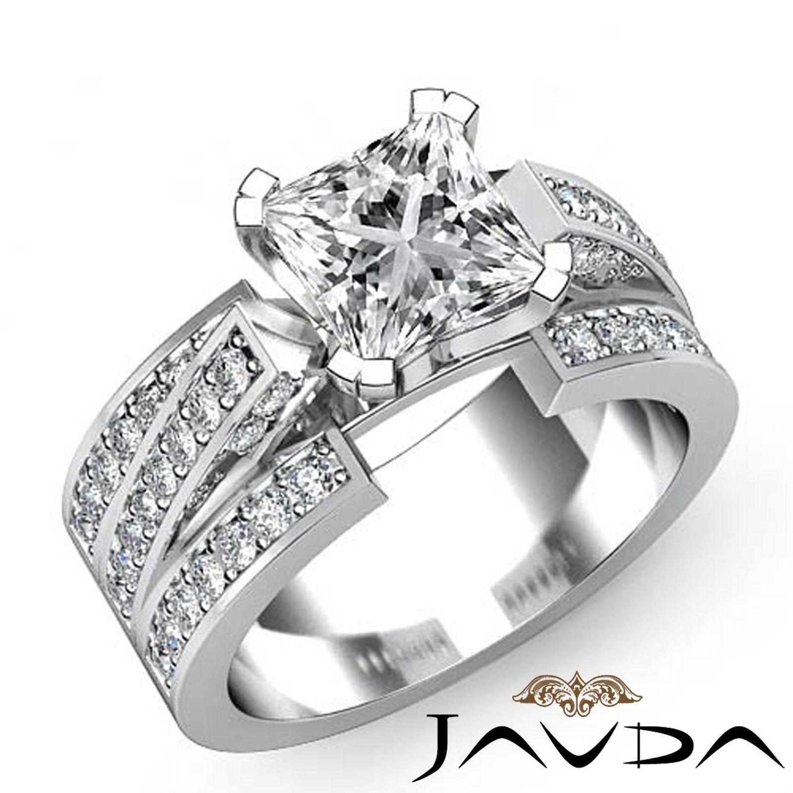 2.26ct Trio Shank Pave Set Princess Diamond Engagement Ring GIA K-VS1 White Gold