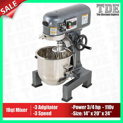 New Commercial 10 Qt Stand Mixer Gear Driven Planetary Guard 110v 34hp 3 Speed