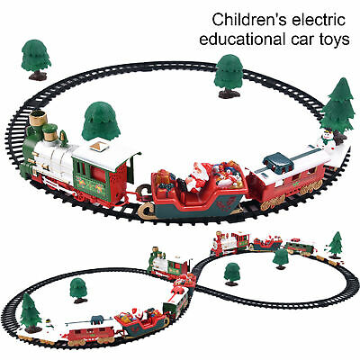 Christmas Electric Rail Car Train Set with Music Light Kids Toy Gift Interesting