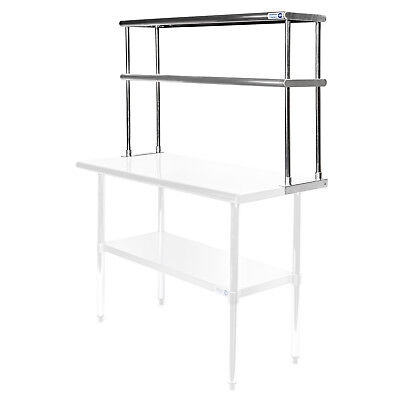 Commercial Stainless Steel Kitchen Prep Table Wide Double Overshelf - 12 X 48