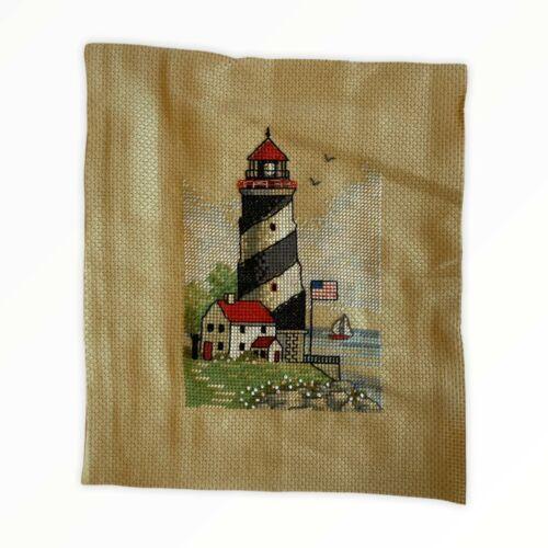 Lighthouse Seaside Sailboat Handmade Needlepoint Artwork Panel