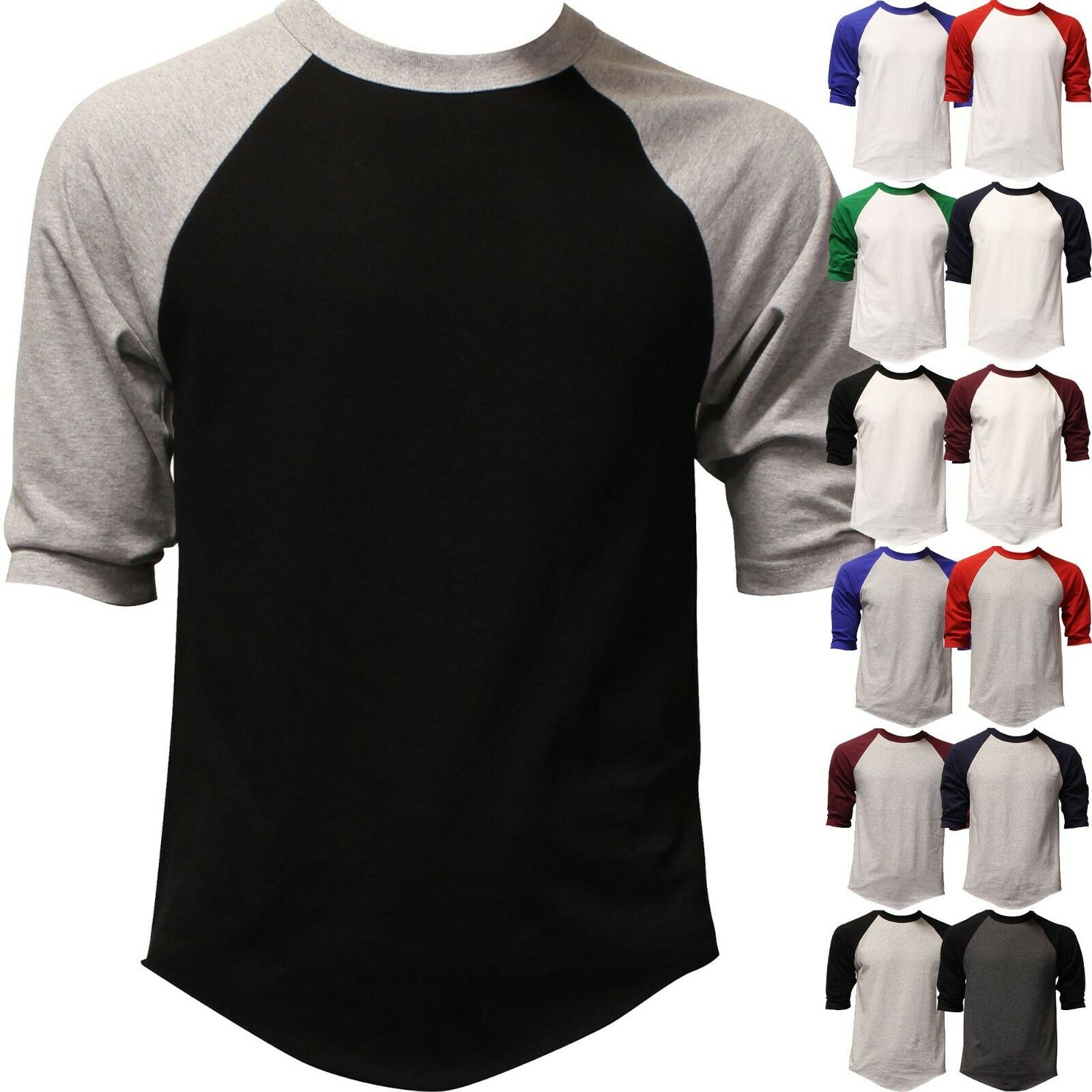dfa06ce3 Mens 3 4 Length Sleeve Raglan Baseball T Shirts