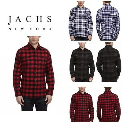 - JACHS Men's Brawny Long Sleeve Brushed Cotton Flannel Button Down Shirt