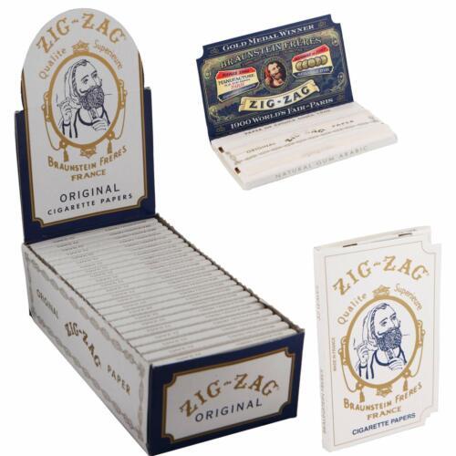 Zig-Zag Original White Cigarette Rolling Paper Full Box 24 Booklet Box 32 Leaves